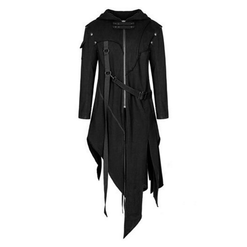 Vertvie Black Jacket Coat Outerwear Hooded Steampunk Military-Cardigan Vintage Men Gothic