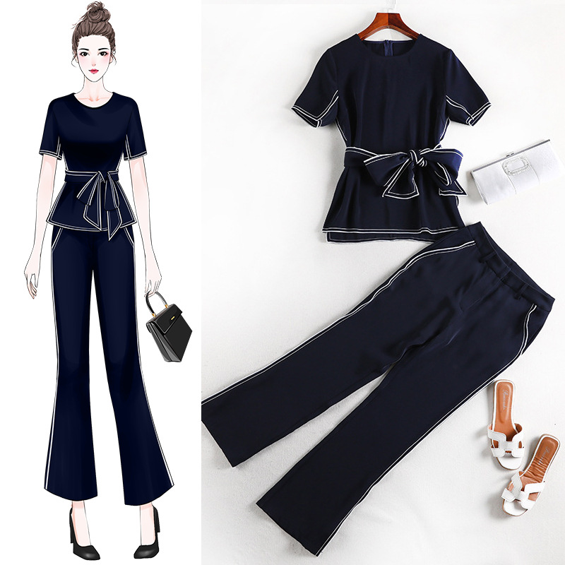 2019 New Arrival Plus Size Two Piece Set Office Lady Elegant Pro Solid Black Slim Bow O-neck White Strape Two Piece Set