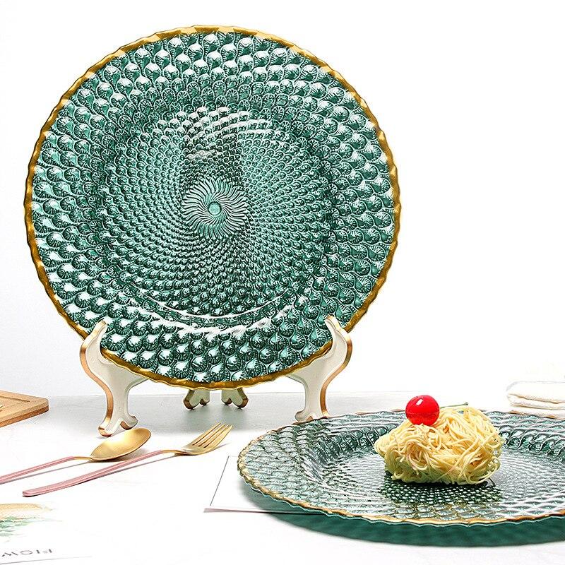 Assiettes de petit déjeuner en verre vert | Plats nouilles Dessert de fruits salade Steak assiette occidentale glaçures de marbre en or vaisselle de fête - 2