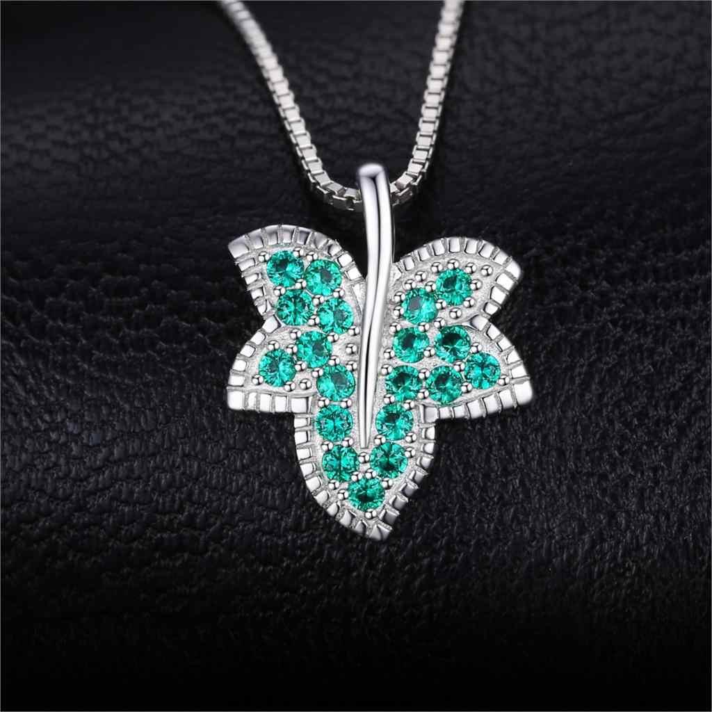 Jpalace リーフ模擬ナノエメラルドペンダントネックレス 925 スターリングシルバー宝石用原石チョーカーステートメントネックレス女性チェーンなし
