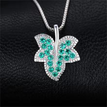 Simulated Nano Emerald Leaf Pendant Jewelry for Women