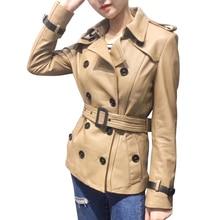 Spring Genuine Leather Jacket Women Classical Elegant Sheepskin Leather Jacket Belt Short