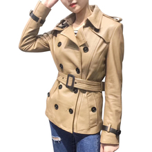 Wiosenna kurtka z prawdziwej skóry kobiet klasyczna elegancka skóra owcza kurtka pas krótki