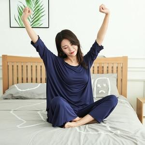 Image 5 - PLUS size home suits women autumn new loose long sleeved pajamas two piece set nine point wide leg pants pijama sleepwear femme