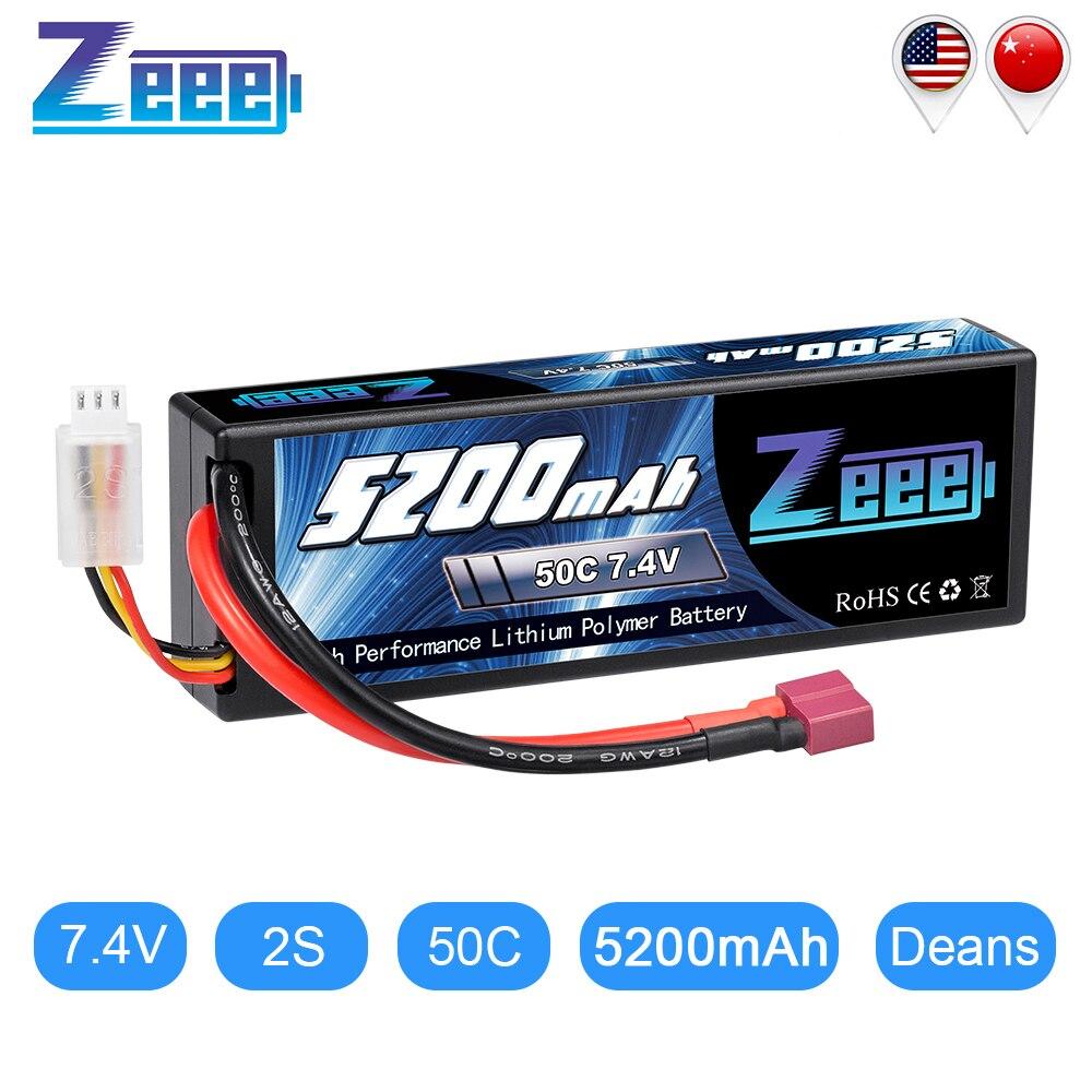 Bateria zeee 5200 mah rc lipo, bateria de 7.4 v 50c 2 s rc com plug de deans para barco evader rc helicóptero de tanque de caminhão de carro