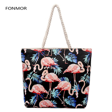 Fashion Flamingos Canvas Handbags Korean Large Capacity Casual  Printed Shoulder Bag Women Beach Bags