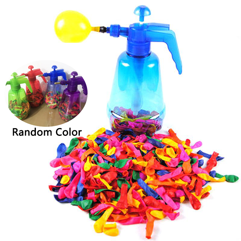Portable <font><b>Air</b></font> Water Bomb Balloon Pump With <font><b>500</b></font> Pcs Balloons For Kids Party Outdoor Toy Balloons (Pump and Balloons Random Color) image