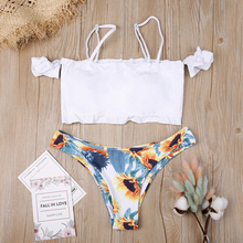 цена на Hot Sale Off The Shoulder Print Ruffled Bikini Mujer 2019 New Sexy Swimwear Women Swimsuit Brazilian Bikini Set Thong Biquinis