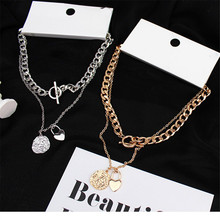 Necklace Multilayers Punk Chains Necklace Metal Pendant Necklaces Gold Fashion Street Trendy Hip Hop Geometric Couple for Women buckle necklaces for women 2020 jewelry punk thick chain clavicle chains necklace metal couple hip hop gold color necklace