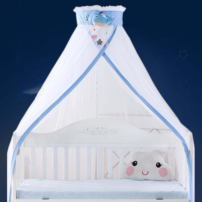 Summer Hung Dome Mosquito Net Baby Cartoon Bed Curtain Liftable Bed Tent Canopy Cover BreathableBaby Crib Net With Floor Stand