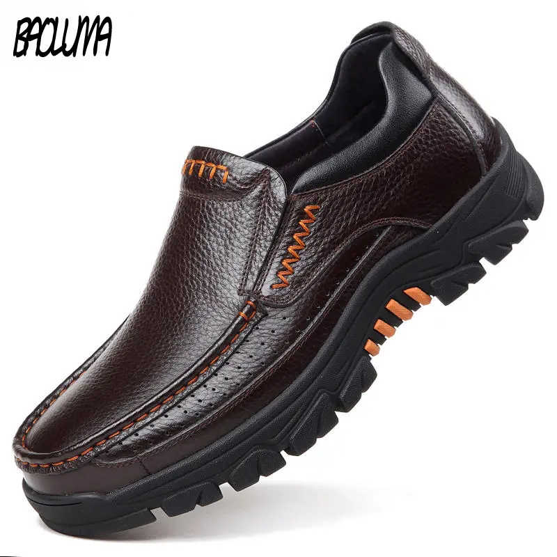 Classic Men Casual Shoes Genuine Cow