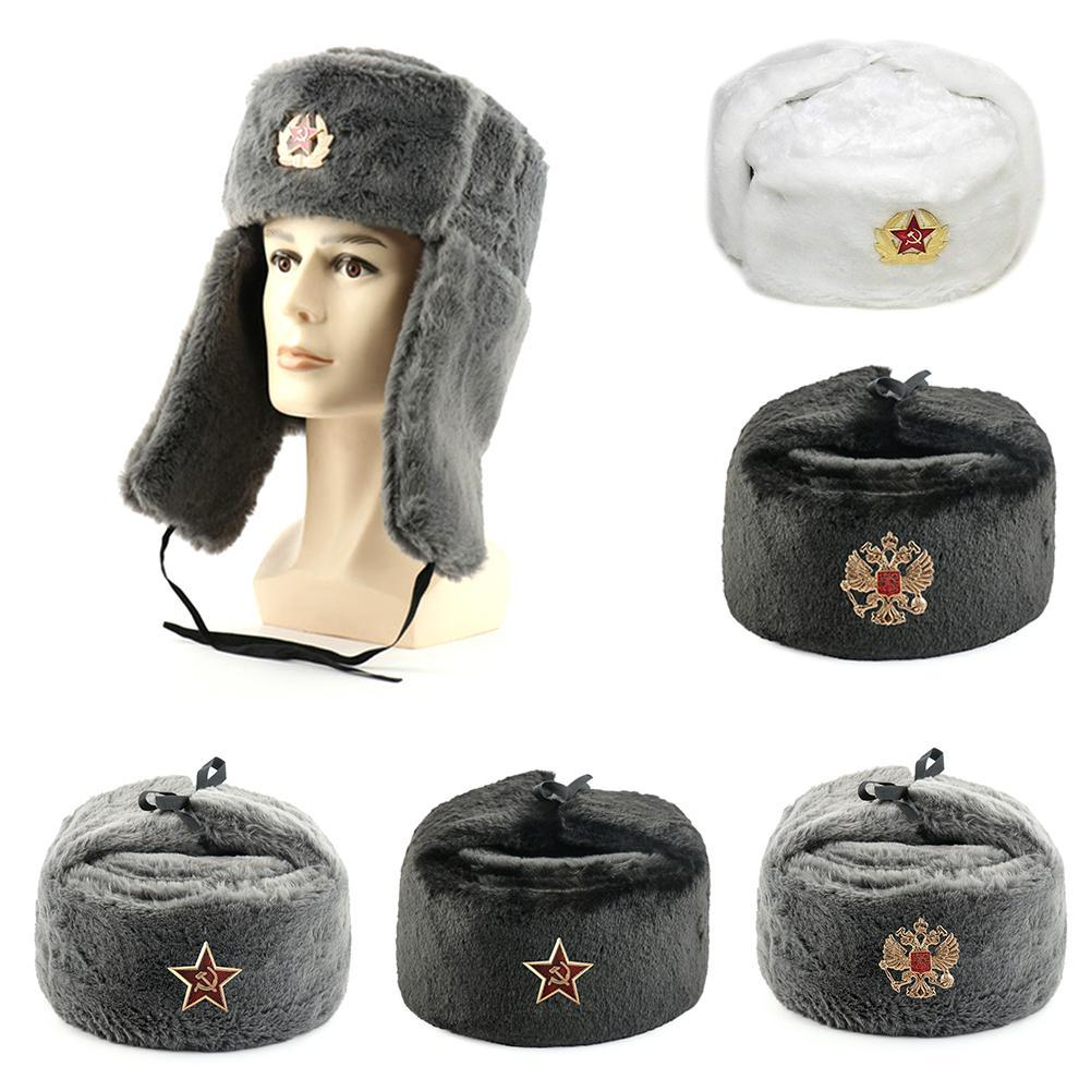 Winter Warm Hats Russian Trapper Hat White With Soviet Badge Faux Fur Ushanka Cossack Flap Cap