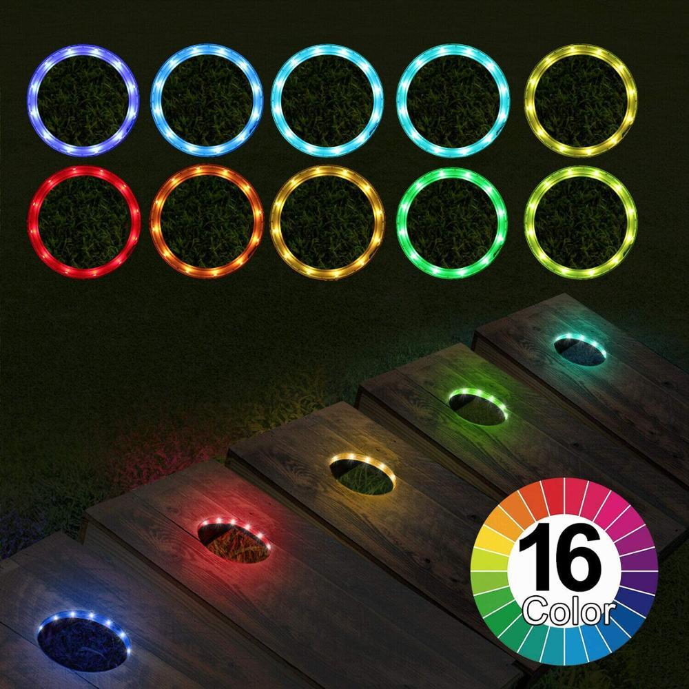 ETOP 16 Color RGB LED Cornhole Lights For Cornhole Game, Bean Bags Toss Game Set Of 2
