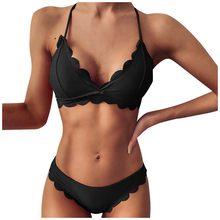 Maillot de bain pour femmes, Bikini, taille haute, couleur unie, soutien-gorge Push Up, rembourré, ensemble deux pièces, vêtements de plage, @ 35