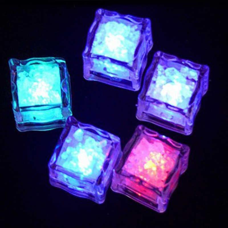 DIY LED intermitente colorido cubitos de hielo decoración de Festival de boda fiesta accesorios luminoso neón luz Navidad Bar vino Copa decorar