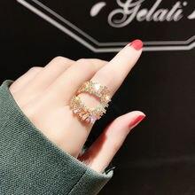 Женское Обручальное кольцо с кристаллами регулируемый размер