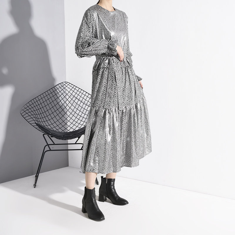 [EAM] женское платье с оборками и разрезом, новинка, круглый вырез, длинный рукав, свободный крой, модная одежда, весна-осень 2020, 1N24709