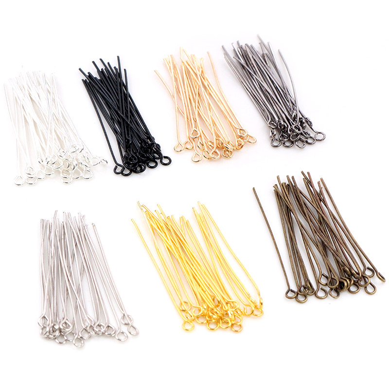 200pcs/bag 16 20 25 30 35 40 45 50mm Eye Head Pins Classic 7 colors Plated Eye Pins For Jewelry Findings Making DIY Supplies|Jewelry Findings & Components| - AliExpress