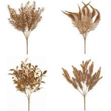 Artificial planta ouro prata folhas de natal casamento decorativo falso flor floral diy acessórios
