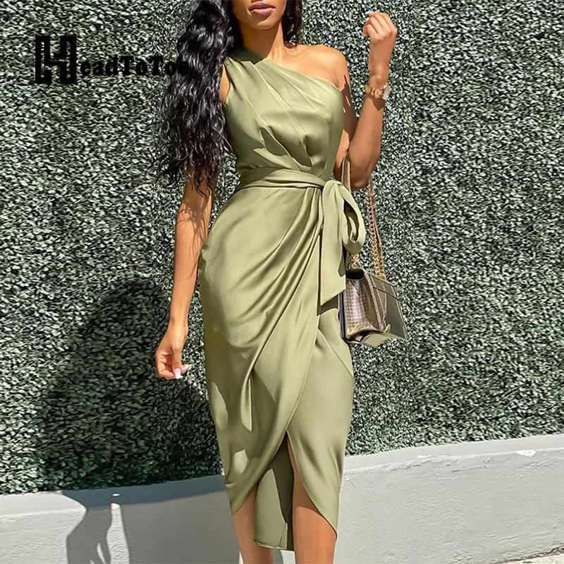 Sexy One Shoulder Ruched Design Party Dress Women Solid Sleeveless Mid-Calf Night Club Dress Vestidos De Fiesta
