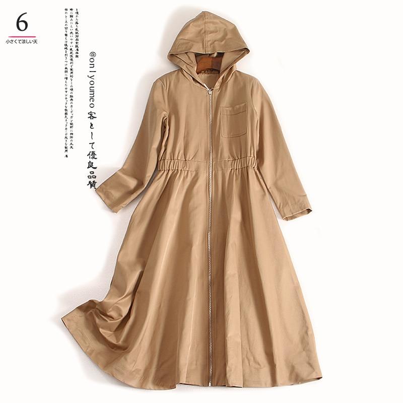 Размера плюс Для женщин плащ Тренч; Новинка; Верхняя одежда с капюшоном и с длинным рукавом Slim Fit ветровка модные тенденции осень зима 2019 - 5