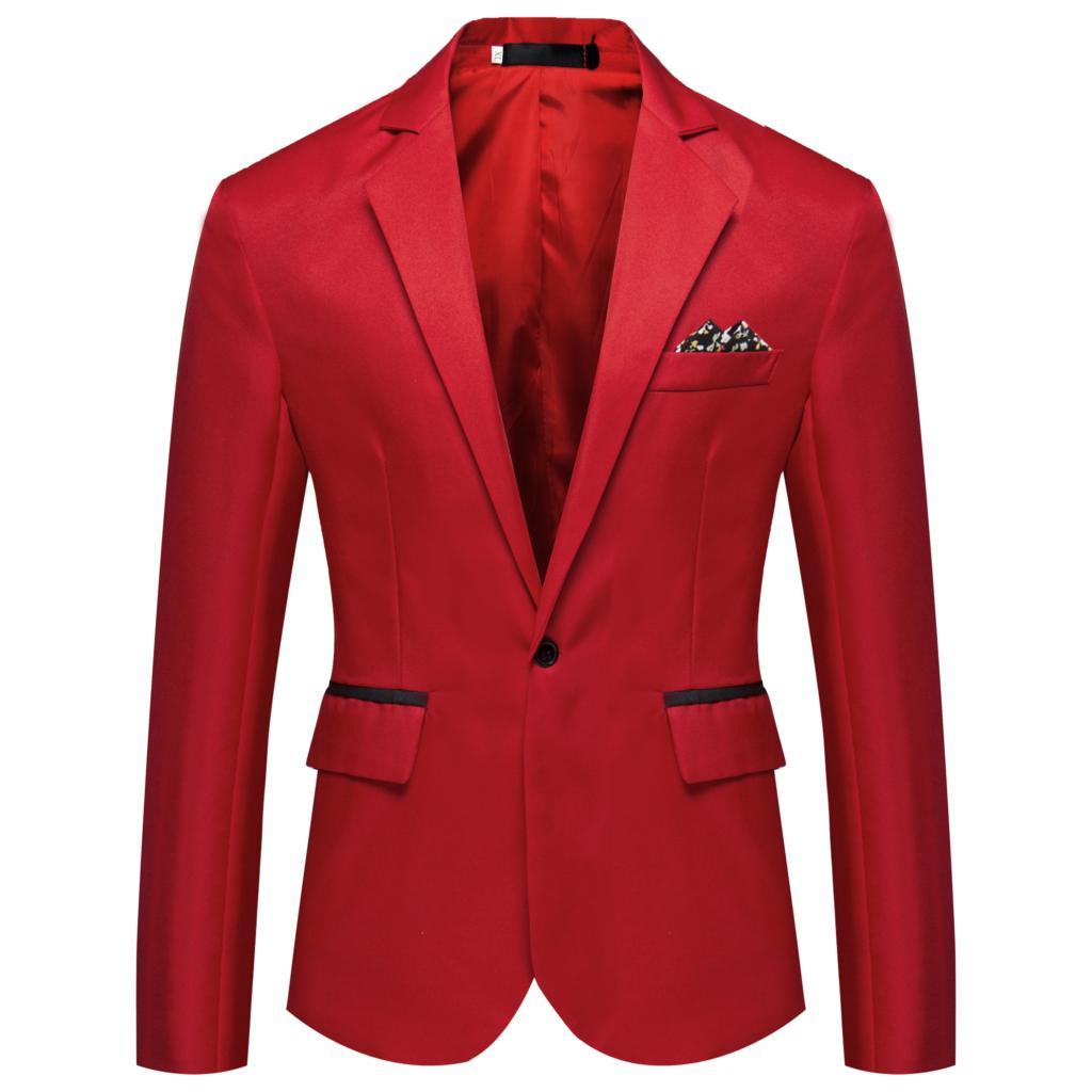MJARTORIA 2019 New Mens Slim Fit Fashion Blazer Suit Jacket Black Blue Plus Size M To 2XL Male Blazers Mens Coat Wedding