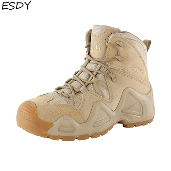 Esdy Men High Quality Brand Military Leather Boots Special Force Tactical Desert Combat Mens Outdoor Shoes Ankle