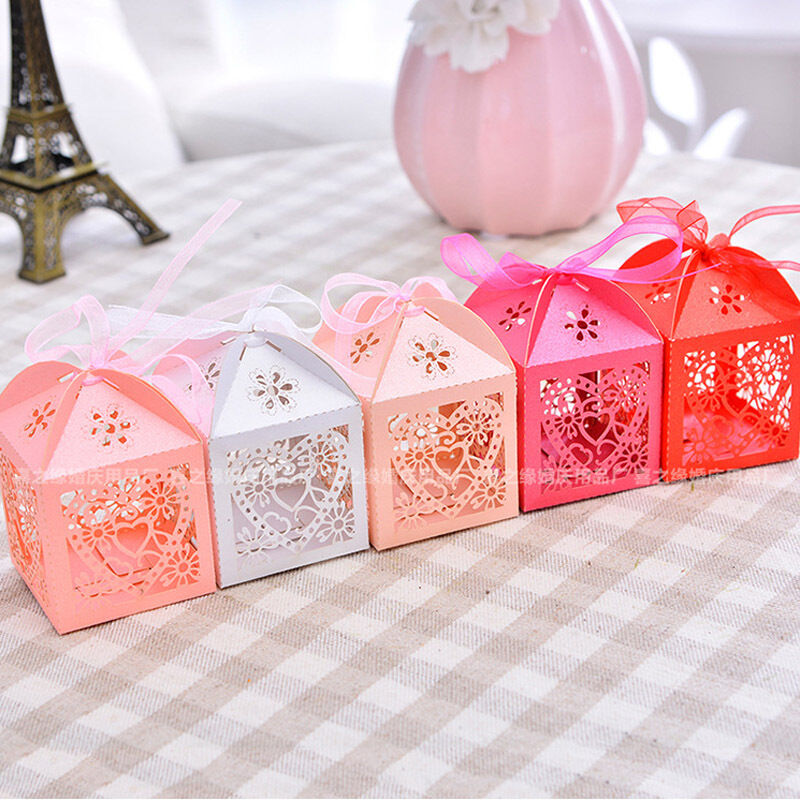 50PCS/Set Love Heart Laser Cut Lace Up Candy Box Gift Boxes Wedding Party Favor