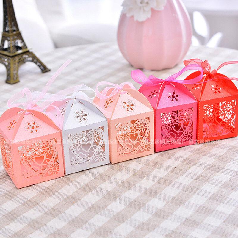 50PCS/Set Love Heart Laser Cut Lace Up Candy Box Gift Boxes Wedding Party Favor