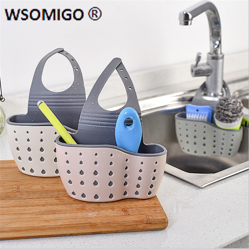 Kitchen Accessories Utensils Organizer Adjustable Snap Sink Soap Sponge Holder Kitchen Hanging Drain Basket Kitchen Gadgets Q| | - AliExpress