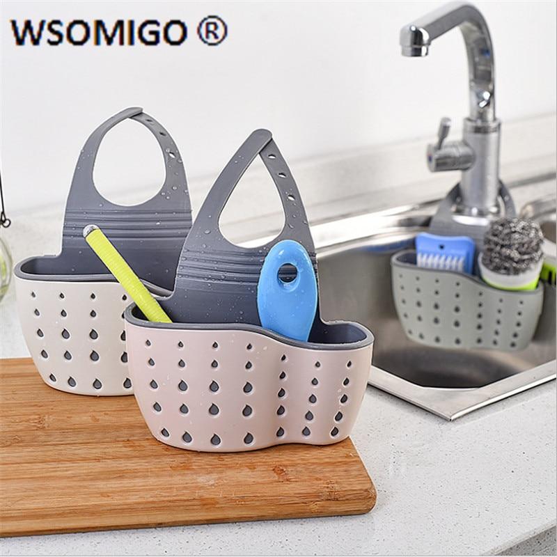 Kitchen Accessories Utensils Organizer Adjustable Snap Sink Soap Sponge Holder Kitchen Hanging Drain Basket Kitchen Gadgets-Q