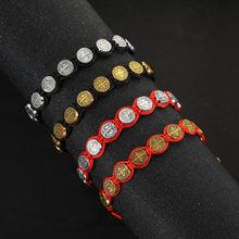 Изысканный праздничный подарок красный веревочный плетеный браслет