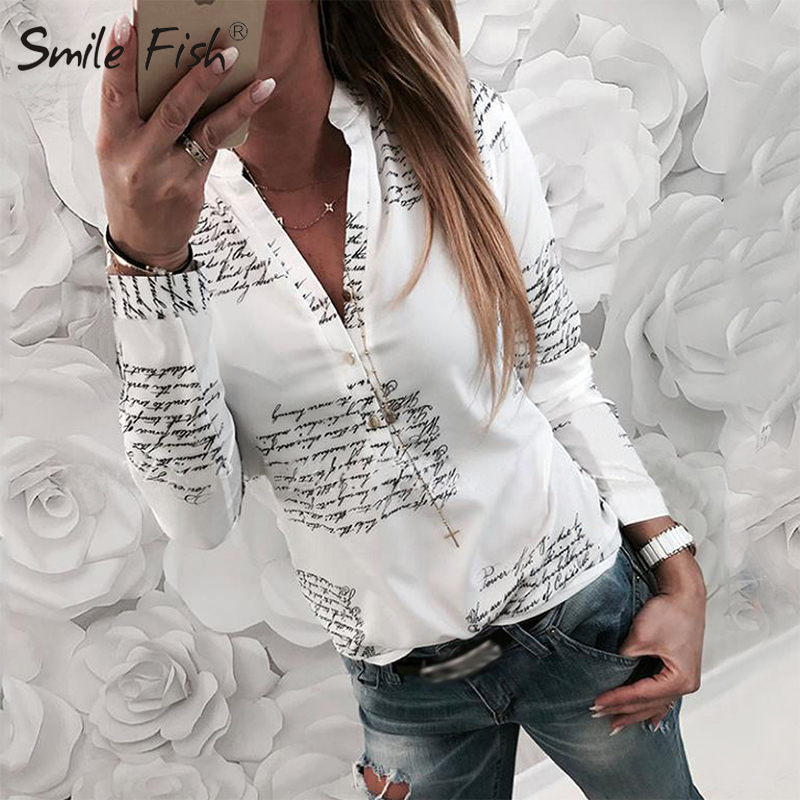 Letters Printed Buttons V-neck Tops Autumn Women Fashion Lady White   Blouses   3XL Long Sleeve   Shirts   Spring Blusas Plus Size M0303