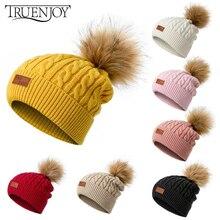 TRUENJOY женская зимняя шапка с помпоном, одноцветная вязаная шапка, шапка, удобная зимняя вязаная шапка