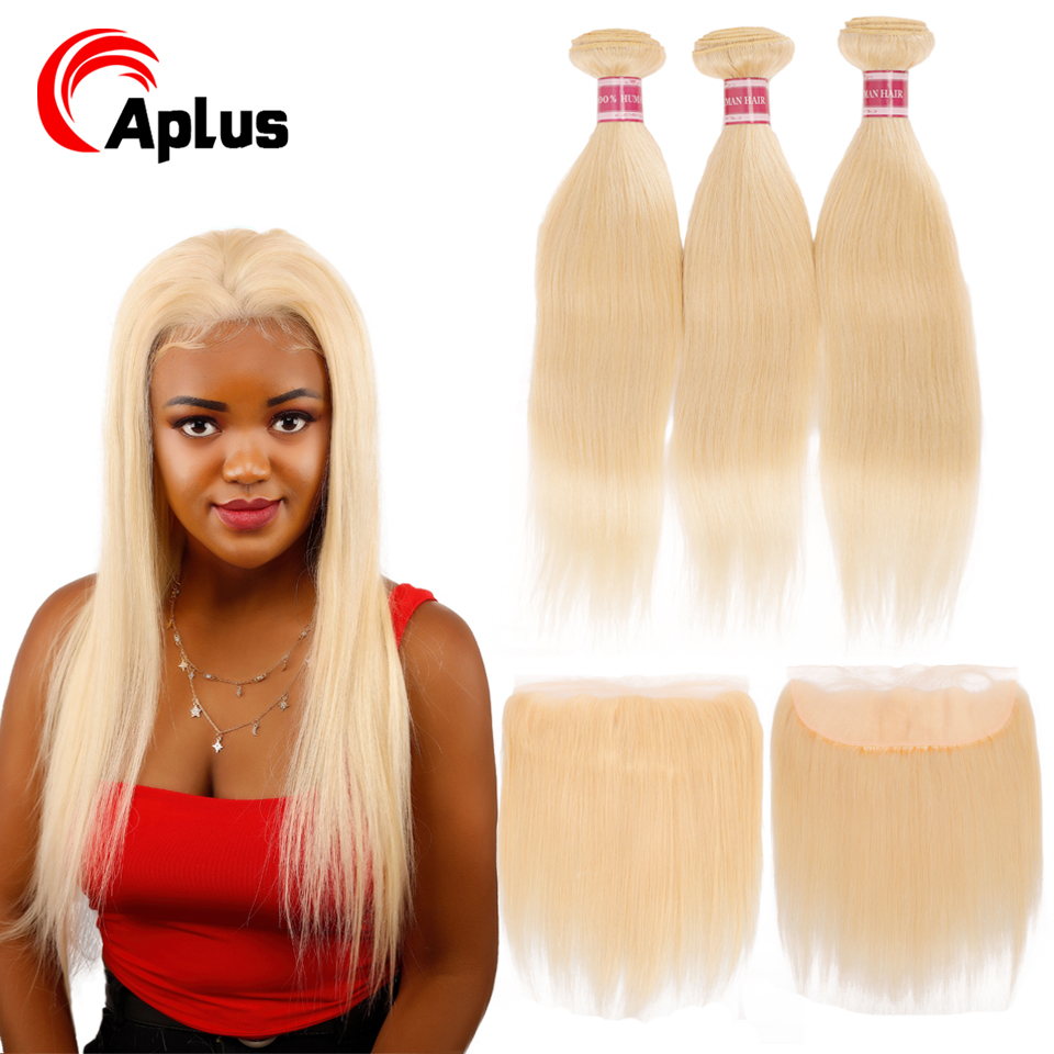 613 Blonde Bundles With Frontal Brazilian Straight Hair With Frontal Remy Blonde Human Hair Lace Closure With Bundle Can Be Dyed