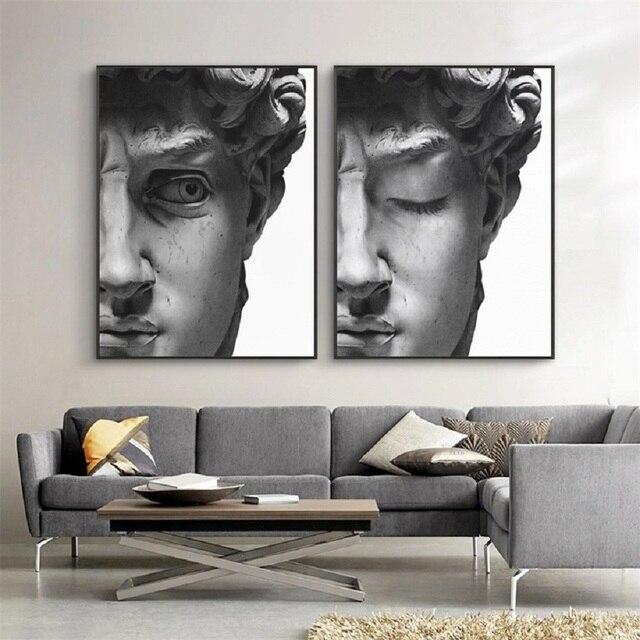 Affiches sculptures de tête de David | Noir et blanc, style nordique, toile dart murale, peintures, images, décoration de la maison, salon