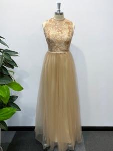 Image 5 - Evening Dress A line High Neck Long Dress Floor Length Sleeveless Chiffon Elegant Evening Party Gowns Appliques Wedding Guest
