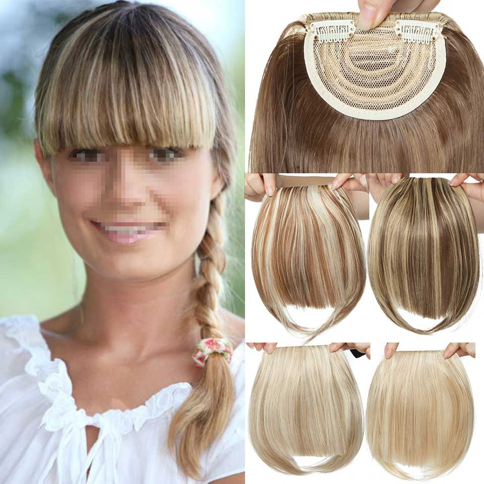 S-noilite 2 Clip In On Bang Bangs Fringe Synthetic Hairpiece Fringe Hair Extensions Black Brown Blonde Hairpiece For Women