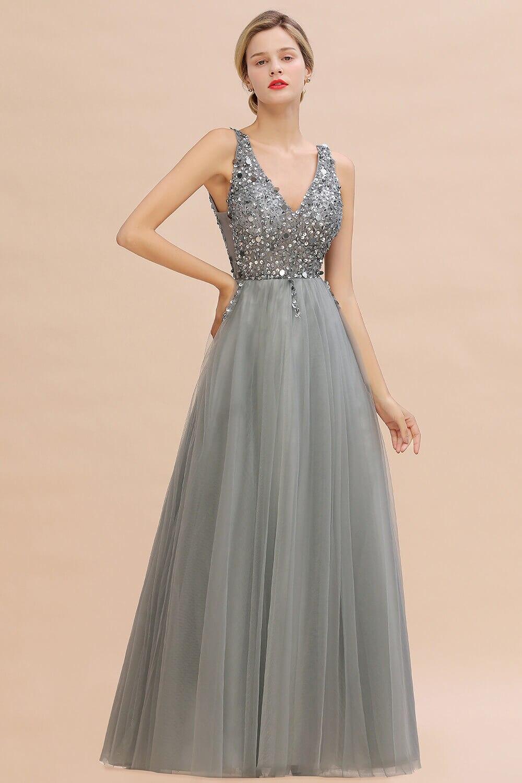 Luxo contas de prata cristais tule vestido de noite 2020 robe de soiree sexy v voltar lantejoulas vestidos de baile noite - 5