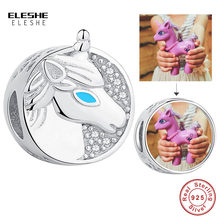 ELESHE Personalized Custom Photo Round Beads 925 Sterling Silver Unicorn Charms fit Original Bracelet Necklace DIY Fine Jewelry(China)