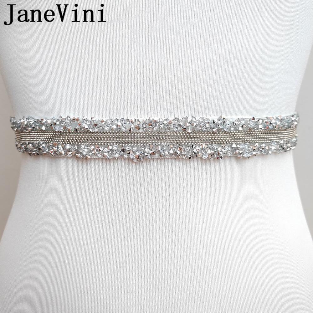 JaneVini Crystal Womens Wedding Bridal Belts Bridesmaid Sash Beaded Ribbon Sashes Stone Bride Dress Belt Waistband Girdle 2020