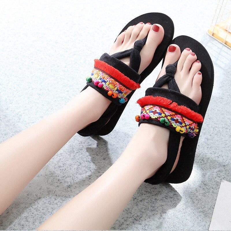 Femmes été tongs plage sandales été pantoufles gladiateur sandales mode en plein air été diapositives ethnique tongs sandales