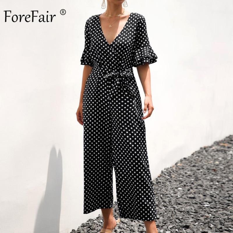 Closeout DealsùForefair Summer Jumpsuit Short-Sleeve Long-Pants Beach-Overalls Women Rompers Boho Polka-Dot