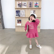 Bahar yeni varış kore tarzı pamuk mektuplar baskılı tüm maç gevşek uzun kollu moda elbise tatlı sevimli bebek kızlar