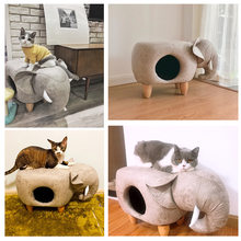 Pet yuva köpek yuva kedi evi yuva yarı kapalı Villa katı ahşap Pedal PU deri tabure yuva çift kullanımlı pet malzemeleri oyuncak