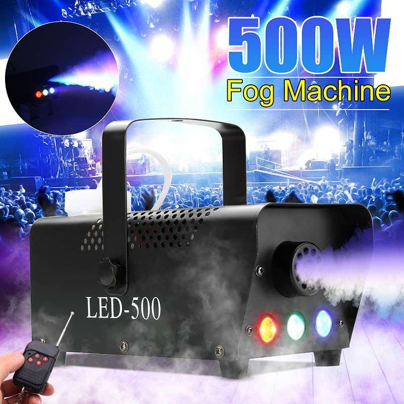 Lumière d'effet d'éclairage d'étape | et Machine sans fil de brouillard de fumée 500W 110 V-230 V Disco noël partie Machine colorée de brouillard léger d'étape