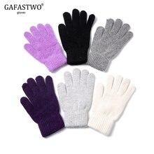 Women Gloves Rabbit-Fur Winter Stretch Warmth Knit Autumn Man Points Thickening