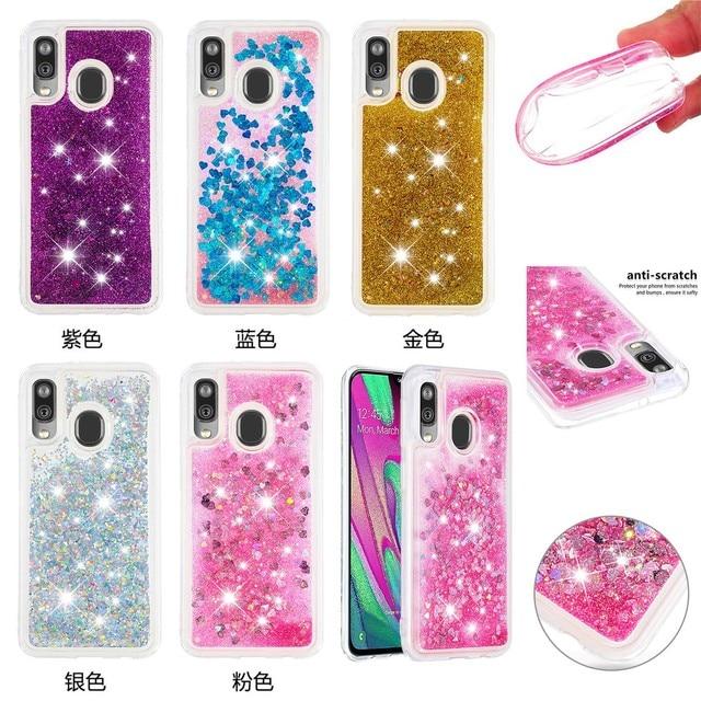 Paillettes Liquide Quicksand Téléphone étuis pour samsung Galaxy A20 A30 A40 A60 A80 A90 A10e A20e A2 Noyau M40 Housse De protection Souple TPU Coques