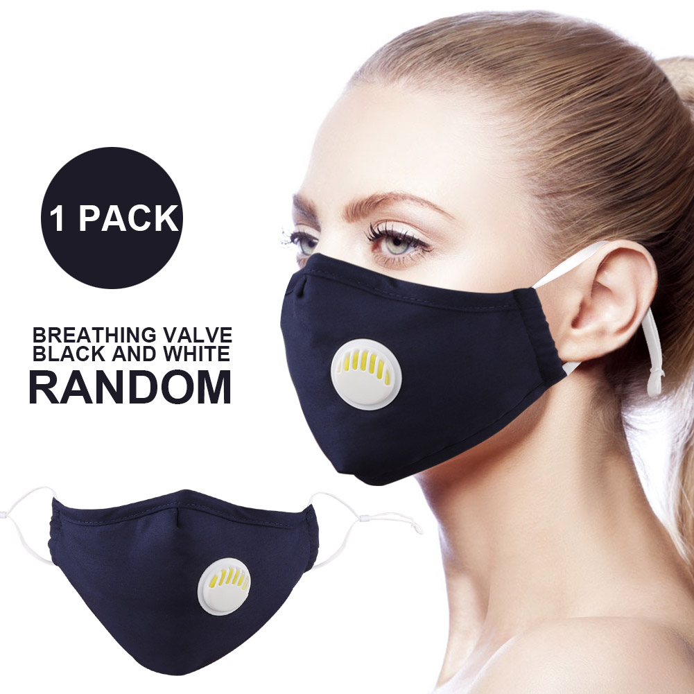 1Pcs PM2.5 Allergy Anti-Dust Mouth Mask Fashionable Respirator Mask With Breathing Valve Washable Cotton Activated Carbon Filter