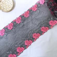 2Yards 28cm Wide Big Rose Flower Embroidered Lace Trims Handmade DIY Sewing Craft Black Mesh Lace Trim Decoration YLHB019